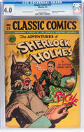 Golden Age (1938-1955):Classics Illustrated, Classic Comics #33 Adventures of Sherlock Holmes (Gilberton, 1947) CGC VG 4.0 Cream to off-white pages....