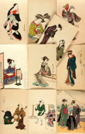 Miscellaneous:Postcards, [Japanese Postcards]. Group of 10 with Hand-Coloring. Shimbi Shoin,ca. 1930's. Measure 5.5 x 3.5 inches. Some with staining...
