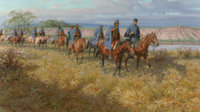 TOM LOVELL (American, 1909-1997) Captain Murie's Pawnees, 1983 Oil on canvas 23 x 40-1/2 inches (