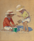 Paintings, JESSIE WILLCOX SMITH (American, 1863-1935). Building a Sand Castle, Good Housekeeping magazine cover, July 4, 1924. Mixe...