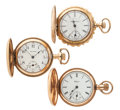 Timepieces:Pocket (post 1900), Two Waltham's & One Elgin Hunter's Case Pocket Watches. ... (Total: 3 Items)