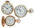 Timepieces:Pocket (post 1900), Two Hamilton & One Hampden Pocket Watches. ... (Total: 3 Items)