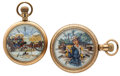 Timepieces:Pocket (post 1900), Two Elgin's Hand Painted Dials Pocket Watches Runners. ... (Total:2 Items)