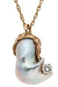 Estate Jewelry:Necklaces, Freshwater Cultured Pearl, Gold Necklace. ...