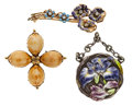Estate Jewelry:Lots, A Group of Diamond, Shell, Enamel, Gold Jewelry. ...