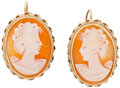 Estate Jewelry:Earrings, Shell Cameo, Gold Earrings. ...