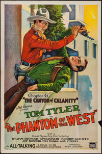 """The Phantom of the West (Mascot, 1931). One Sheet (27"""" X 41"""") Chapter 6 -- """"The Canyon of Calamity.""""..."""