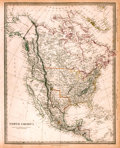 "Books:Maps & Atlases, [Maps]. Early Map of North America. London: Chapman and Hall, 1843.With hand-colored borders. Measures about 16"" x 13.25"". ..."