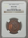 Liberia, Liberia: Republic Cent 1862 MS63 Red and Brown NGC,...