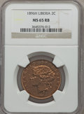 Liberia, Liberia: Republic 2 Cents 1896-H MS65 Red and Brown NGC,...