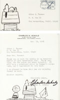 Memorabilia:Miscellaneous, Charles Schultz Signed Letter Group (1967-92).... (Total: 6 Items)