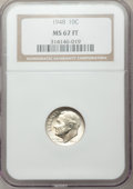 Roosevelt Dimes: , 1948 10C MS67 Full Bands NGC. NGC Census: (58/1). PCGS Population (24/3). Mintage: 74,950,000. Numismedia Wsl. Price for pr...
