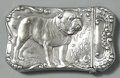 Silver Smalls:Match Safes, AN AMERICAN SILVER BULLDOG MOTIF MATCH SAFE, Gorham ManufacturingCo., Providence, Rhode Island, circa 1890. Marks: (lion-an...