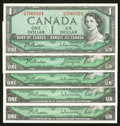 Canadian Currency: , $1 1954 Modified Portrait and 1967 Notes.. ... (Total: 5 notes)