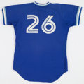 Baseball Collectibles:Uniforms, 1985 Willie Upshaw Batting Practice Worn, Signed Toronto Blue JaysJersey....