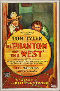 """The Phantom of the West (Mascot, 1931). One Sheet (27"""" X 41"""") Chapter 4 -- """"The Battle of the Strong.&quo..."""
