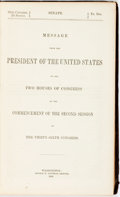 Books:Americana & American History, [James Buchanan]. Message from the President of the UnitedStates...Washington: George Bowman, 1860. First edition. ...