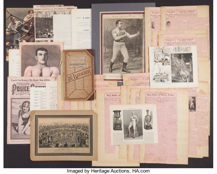 Early 1900s Boxing Legends Clippings Scrapbook Etc Boxing