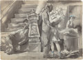 Fine Art - Work on Paper:Watercolor, REGINALD MARSH (American, 1898-1954). Sidewalk Scenes(double-sided work), 1945-46. Ink wash, watercolor and charcoalon... (Total: 2 Items)