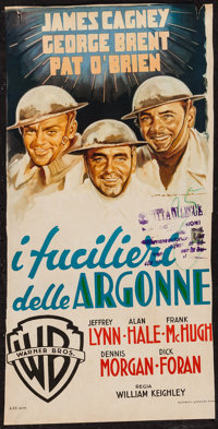 "The Fighting 69th (Warner Brothers, 1940s). First Post-War Release Trimmed Italian Locandina (11.5"" X 23""). Wa..."