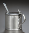 Silver Holloware, British:Holloware, A GEORGE V SILVER MUSTARD POT WITH COBALT BLUE GLASS LINER ANDMUSTARD SHOVEL, Various makers, circa 1932. Marks to jar: (li...(Total: 3 Items)