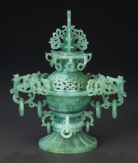 A CHINESE CARVED JADEITE CENSER 12 inches high (30.5 cm)  Property from the Estate of Barry and Rochelle La
