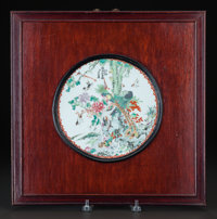 A FRAMED CHINESE PAINTED PORCELAIN PLAQUE circa 1890 8-1/2 inches diameter (21.6 cm)  Property