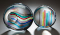 Art Glass:Other , TWO MANFREDI ITALIAN GLASS ORBS, 20th century. Marks:MANFREDI, (three vertical lines). 7-3/4 inches high (19.7cm) (lar... (Total: 2 Items)