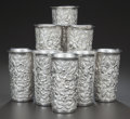 Silver Holloware, American:Cups, A SET OF EIGHT AMERICAN SILVER TUMBLERS, Samuel Kirk & Son,Baltimore, Maryland, circa 1910. Marks: S. KIRK & SON,STERLIN... (Total: 8 Items)