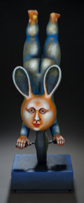 Ceramics & Porcelain, SERGIO BUSTAMANTE (Mexican, b. 1942). Rabbit on Monocycle, 1998. Ceramic. 25 inches (63.5 cm). PROPERTY FROM THE ESTAT...