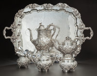 FIVE PIECE AMERICAN BALTIMORE ROSE PATTERN SILVER TEA AND COFFEE SERVICE WITH SILVER-PLATED