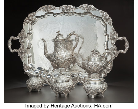 FIVE PIECE AMERICAN BALTIMORE ROSE PATTERN SILVER TEA AND COFFEE SERVICE WITH SILVER-PLATED TRAY, Schofield Co.,... (Total: 6 Items)