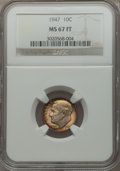 Roosevelt Dimes: , 1947 10C MS67 Full Bands NGC. NGC Census: (36/0). PCGS Population (44/0). Mintage: 121,520,000. Numismedia Wsl. Price for p...