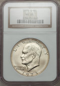 Eisenhower Dollars: , 1973-S $1 Silver MS68 NGC. NGC Census: (155/1). PCGS Population (836/4). Mintage: 869,400. Numismedia Wsl. Price for proble...