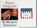 Books:Americana & American History, Newt Gingrich. SIGNED. To Renew America. New York: HarperCollins, 1995. First edition. Signed by the author on a ...