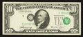 Error Notes:Shifted Third Printing, Fr. 2022-C $10 1974 Federal Reserve Note. Very Fine.. ...
