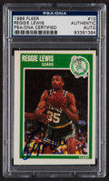 Basketball Cards:Singles (1980-Now), Signed 1989 Fleer Reggie Lewis #10 PSA/DNA Authentic. ...