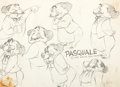 animation art:Model Sheet, Hound for Trouble Pasquale Hand-Drawn Model Sheet Art(Warner Brothers, 1951)....