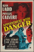 "Movie Posters:Film Noir, Appointment With Danger (Paramount, 1951). One Sheet (27"" X 41"").Alan Ladd was the film noir anti-hero. Whether playing a h..."