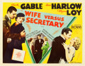 "Movie Posters:Comedy, Wife vs. Secretary (MGM, 1936). Half Sheet (22"" X 28""). Thehistoric team of Clark Gable and Jean Harlow, along with Myrna L..."