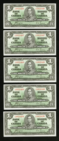 Canadian Currency: , BC-21d $1 1937 Five Consecutive Examples. ... (Total: 5 notes)
