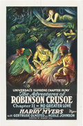 "Movie Posters:Serial, Adventures of Robinson Crusoe (Universal, 1922). One Sheet (27"" X41""). Universal was an early producer of serials sometimes..."