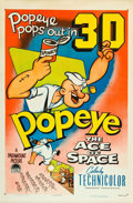 "Movie Posters:Animated, Popeye in ""The Ace of Space"" (Paramount, 1953). One Sheet (27"" X41"") In the early 1950s everyone in the film industry was t..."