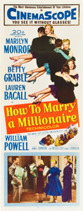 "Movie Posters:Comedy, How to Marry a Millionaire (20th Century Fox, 1953). Insert (14"" X36"") Marilyn Monroe stars with Betty Grable and Lauren Ba..."