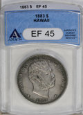 Coins of Hawaii: , 1883 $1 Hawaii Dollar XF45 ANACS. A touch of original luster is present at the reverse periph...