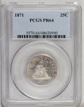 Proof Seated Quarters: , 1871 25C PR64 PCGS. Light freckles of plum toning visit thisdecisively struck and unperturbed near-Gem. The major devices ...