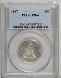 Proof Seated Quarters: , 1867 25C PR64 PCGS. This needle-sharp near-Gem is gently toned inalmond-gold and ice-blue shades. The devices are delicate...
