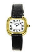 Timepieces:Wristwatch, Cartier, Lady's Gold, Leather Strap Wristwatch, Modern. Case: 26mm, 14k yellow gold, case back stamped Cartier Paris 7808...