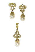 Estate Jewelry:Other , Diamond, Cultured Pearl, Gold Jewelry Suite, Garrard & Co.. Thesuite includes: one pair of earrings, each featuring full-...(Total: 3 Items)