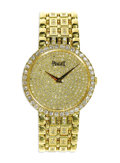 Timepieces:Wristwatch, Piaget, Men's Midsize Diamond, Gold Integral Bracelet Wristwatch,Modern. Case: 32 mm, 18k yellow gold, bezel is set with ...